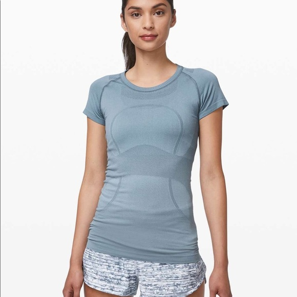 light blue lululemon t-shirt